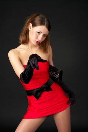 Röd klänning utan axelband